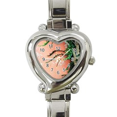 Background Stone Wall Pink Tree Heart Italian Charm Watch