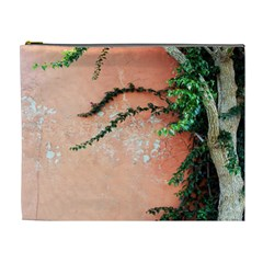 Background Stone Wall Pink Tree Cosmetic Bag (xl)
