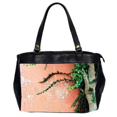 Background Stone Wall Pink Tree Office Handbags (2 Sides)  by Nexatart
