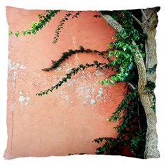 Background Stone Wall Pink Tree Large Cushion Case (one Side)