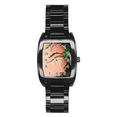 Background Stone Wall Pink Tree Stainless Steel Barrel Watch
