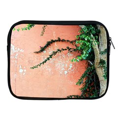 Background Stone Wall Pink Tree Apple Ipad 2/3/4 Zipper Cases