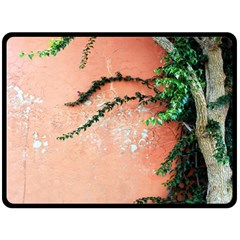 Background Stone Wall Pink Tree Double Sided Fleece Blanket (large)  by Nexatart