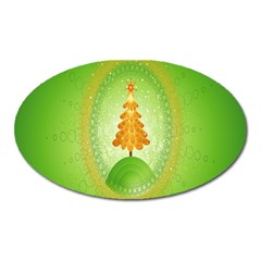Beautiful Christmas Tree Design Oval Magnet by Nexatart