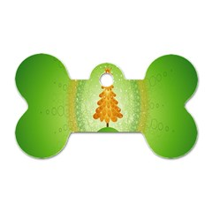 Beautiful Christmas Tree Design Dog Tag Bone (two Sides) by Nexatart