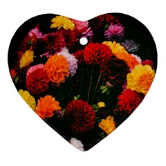 Beautifull Flowers Heart Ornament (two Sides)