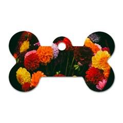 Beautifull Flowers Dog Tag Bone (Two Sides)