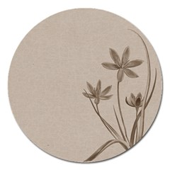 Background Vintage Drawing Sepia Magnet 5  (round)