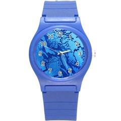 Background Tissu Fleur Bleu Round Plastic Sport Watch (s)
