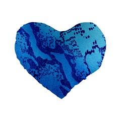 Background Tissu Fleur Bleu Standard 16  Premium Flano Heart Shape Cushions by Nexatart
