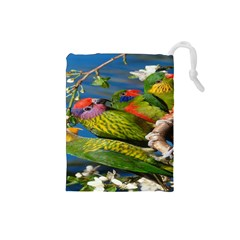 Beautifull Parrots Bird Drawstring Pouches (small)