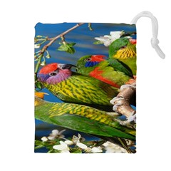 Beautifull Parrots Bird Drawstring Pouches (extra Large) by Nexatart