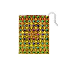 Background Tile Kaleidoscope Drawstring Pouches (small)