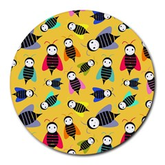 Bees Animal Pattern Round Mousepads