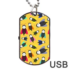 Bees Animal Pattern Dog Tag Usb Flash (two Sides) by Nexatart