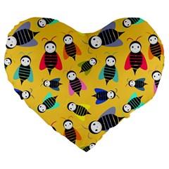 Bees Animal Pattern Large 19  Premium Heart Shape Cushions