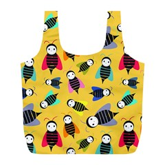 Bees Animal Pattern Full Print Recycle Bags (l)  by Nexatart