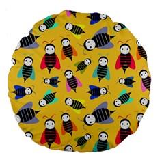 Bees Animal Pattern Large 18  Premium Flano Round Cushions