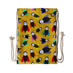 Bees Animal Pattern Drawstring Bag (small) by Nexatart