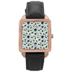Bees Animal Pattern Rose Gold Leather Watch