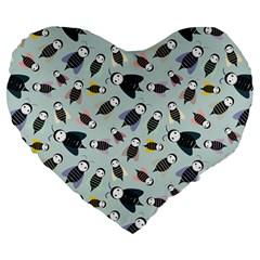 Bees Animal Pattern Large 19  Premium Flano Heart Shape Cushions