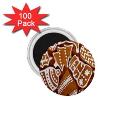 Biscuit Brown Christmas Cookie 1 75  Magnets (100 Pack)  by Nexatart