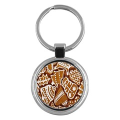 Biscuit Brown Christmas Cookie Key Chains (round)