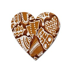 Biscuit Brown Christmas Cookie Heart Magnet by Nexatart