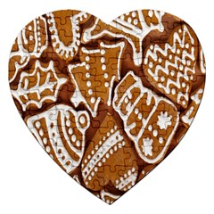 Biscuit Brown Christmas Cookie Jigsaw Puzzle (heart) by Nexatart