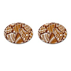 Biscuit Brown Christmas Cookie Cufflinks (oval)