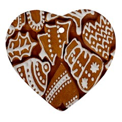 Biscuit Brown Christmas Cookie Heart Ornament (two Sides) by Nexatart
