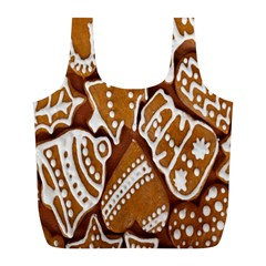 Biscuit Brown Christmas Cookie Full Print Recycle Bags (l)