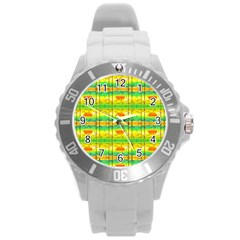 Birds Beach Sun Abstract Pattern Round Plastic Sport Watch (l)