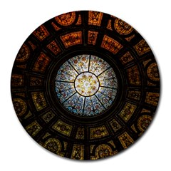 Black And Borwn Stained Glass Dome Roof Round Mousepads by Nexatart