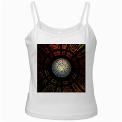 Black And Borwn Stained Glass Dome Roof White Spaghetti Tank by Nexatart