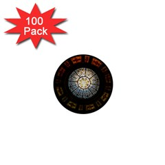 Black And Borwn Stained Glass Dome Roof 1  Mini Buttons (100 Pack)