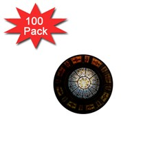 Black And Borwn Stained Glass Dome Roof 1  Mini Magnets (100 Pack)  by Nexatart