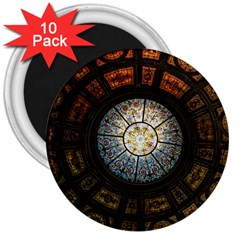 Black And Borwn Stained Glass Dome Roof 3  Magnets (10 Pack)  by Nexatart