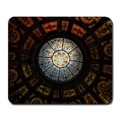Black And Borwn Stained Glass Dome Roof Large Mousepads by Nexatart