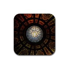 Black And Borwn Stained Glass Dome Roof Rubber Square Coaster (4 Pack)  by Nexatart
