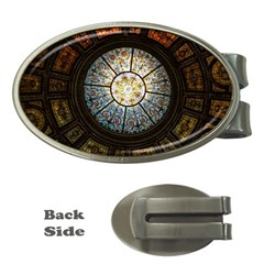 Black And Borwn Stained Glass Dome Roof Money Clips (oval)  by Nexatart
