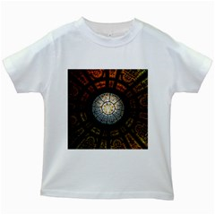 Black And Borwn Stained Glass Dome Roof Kids White T Shirts
