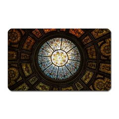 Black And Borwn Stained Glass Dome Roof Magnet (rectangular) by Nexatart