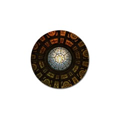 Black And Borwn Stained Glass Dome Roof Golf Ball Marker (10 Pack) by Nexatart