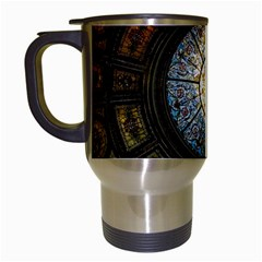 Black And Borwn Stained Glass Dome Roof Travel Mugs (white) by Nexatart