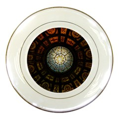 Black And Borwn Stained Glass Dome Roof Porcelain Plates by Nexatart
