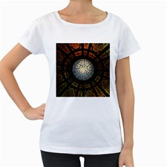 Black And Borwn Stained Glass Dome Roof Women s Loose Fit T Shirt (white) by Nexatart