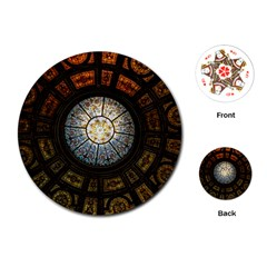 Black And Borwn Stained Glass Dome Roof Playing Cards (round)  by Nexatart