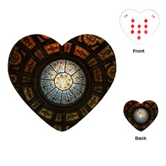 Black And Borwn Stained Glass Dome Roof Playing Cards (heart)  by Nexatart