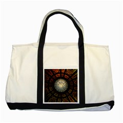 Black And Borwn Stained Glass Dome Roof Two Tone Tote Bag by Nexatart